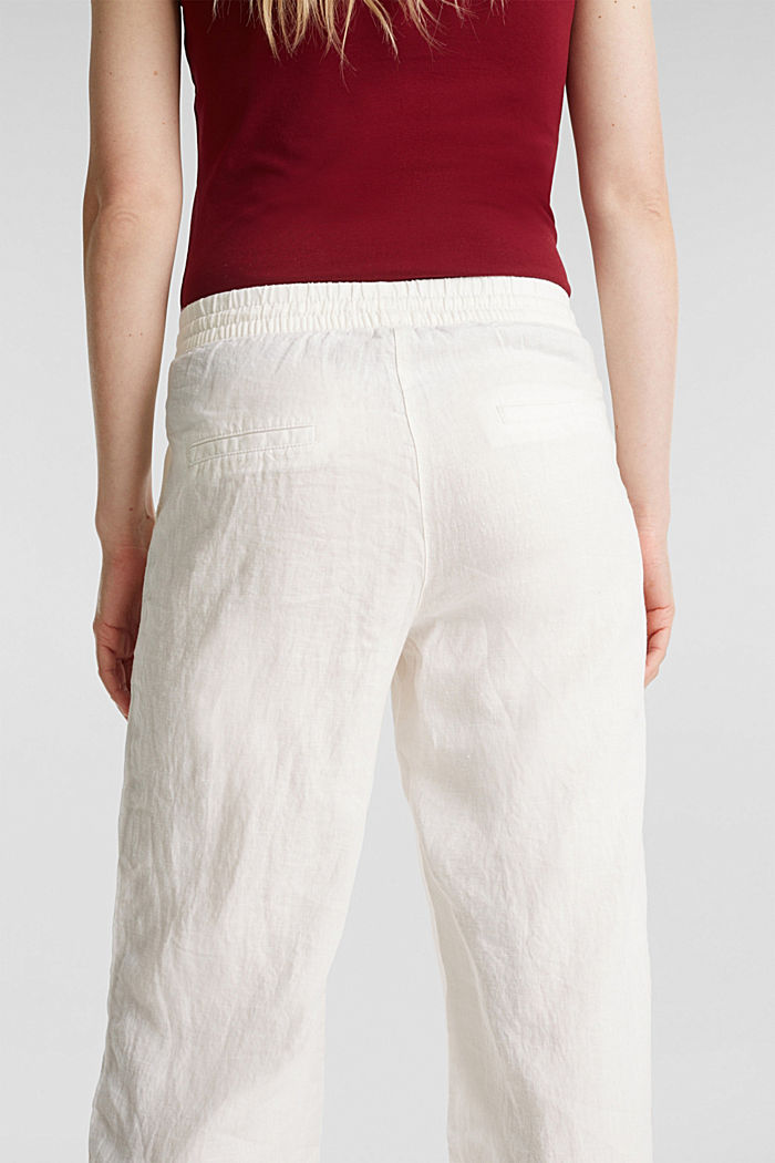 100% linen: tracksuit-style trousers, OFF WHITE, detail image number 5