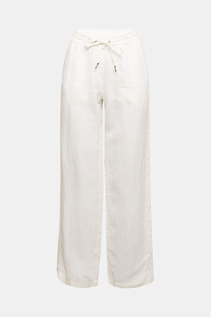 100% linen: tracksuit-style trousers, OFF WHITE, detail image number 6