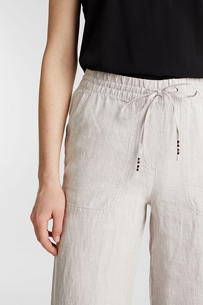 100% linnen: broek in joggingstijl, LIGHT BEIGE, detail image number 2