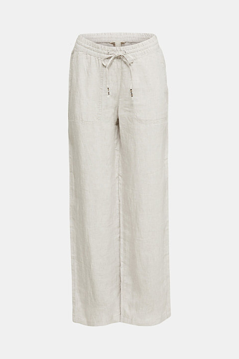 100% linen: tracksuit-style trousers
