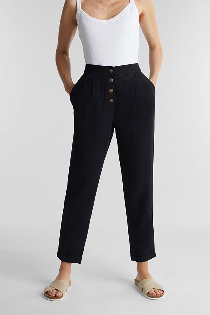 Linen blend: Chinos with a button placket, BLACK, detail image number 0