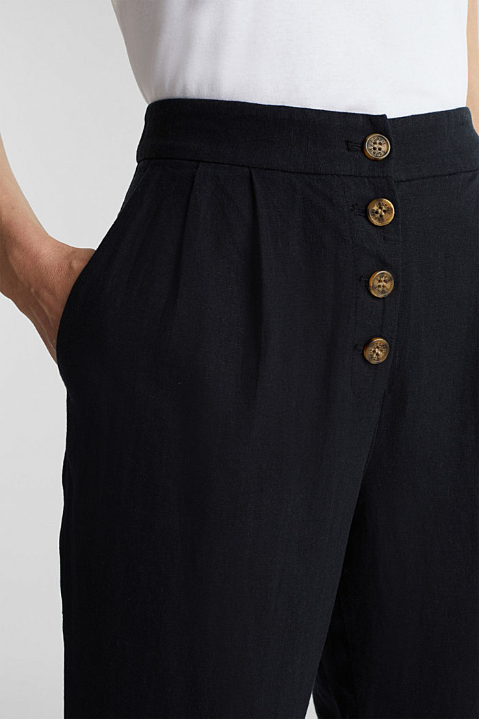 Linen blend: Chinos with a button placket, BLACK, detail image number 2