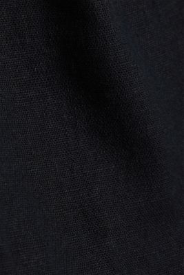 Linen blend: Chinos with a button placket, BLACK, detail