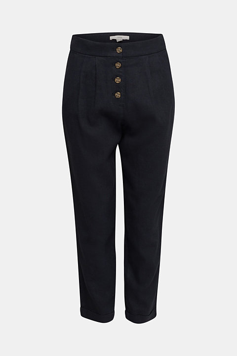 Linen blend: Chinos with a button placket