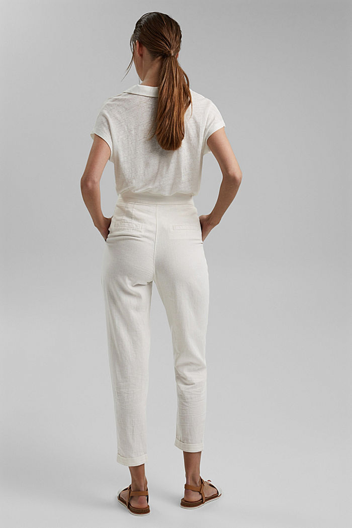 Linen blend: Chinos with a button placket, OFF WHITE, detail image number 3