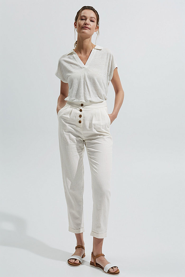 Linen blend: Chinos with a button placket, OFF WHITE, detail image number 7
