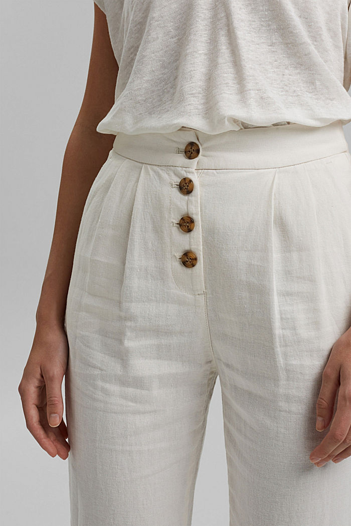 Linen blend: Chinos with a button placket, OFF WHITE, detail image number 2