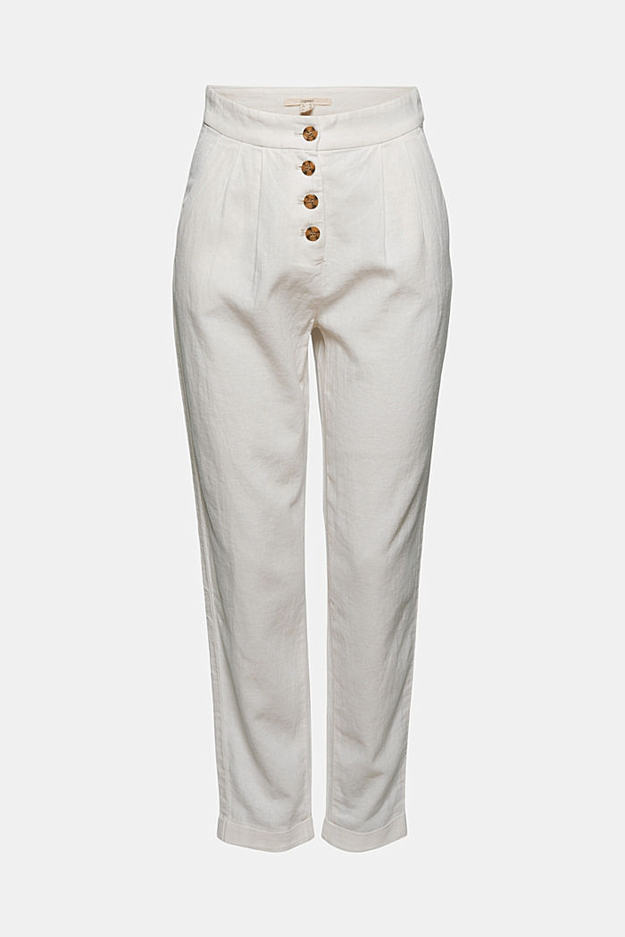Linen blend: Chinos with a button placket, OFF WHITE, detail image number 8