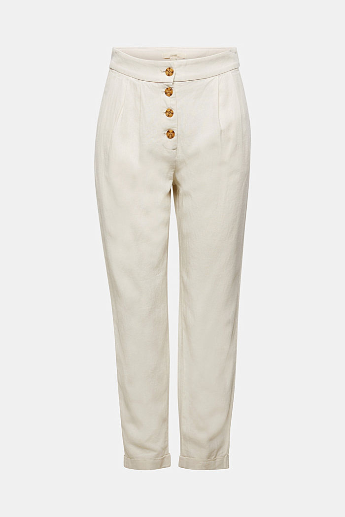 Linen blend: Chinos with a button placket, SAND, detail image number 7