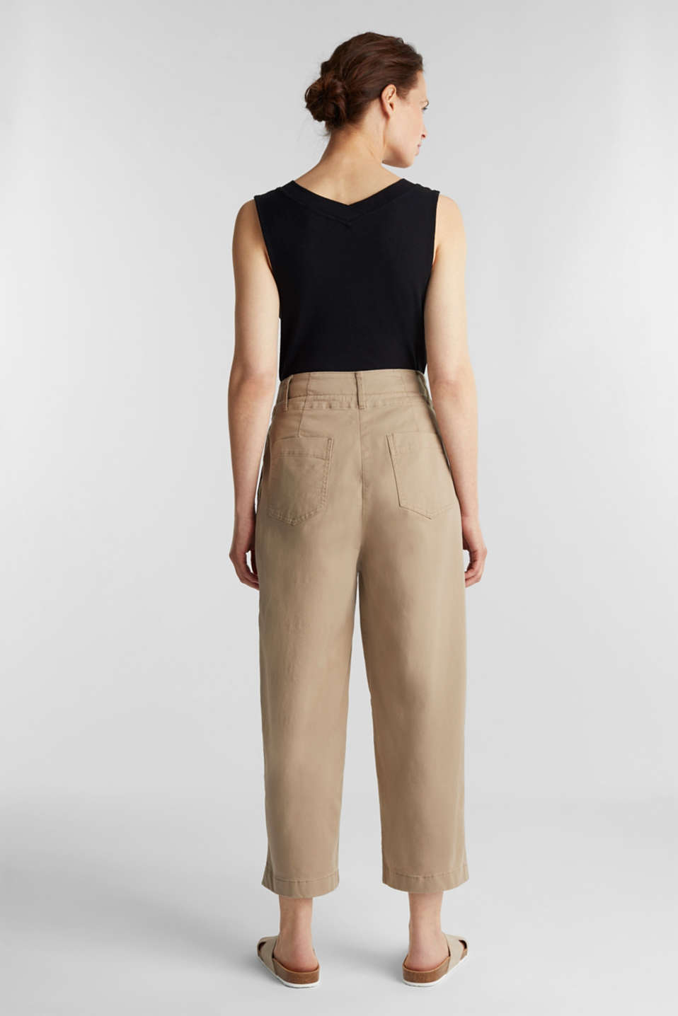 High-waisted culottes, BEIGE, detail image number 3