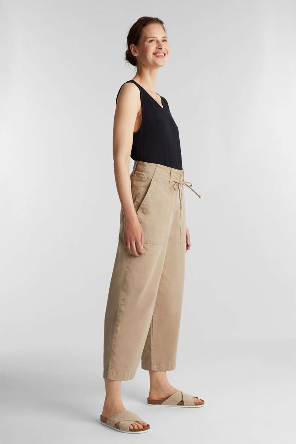 High-waisted culottes, BEIGE, detail image number 1