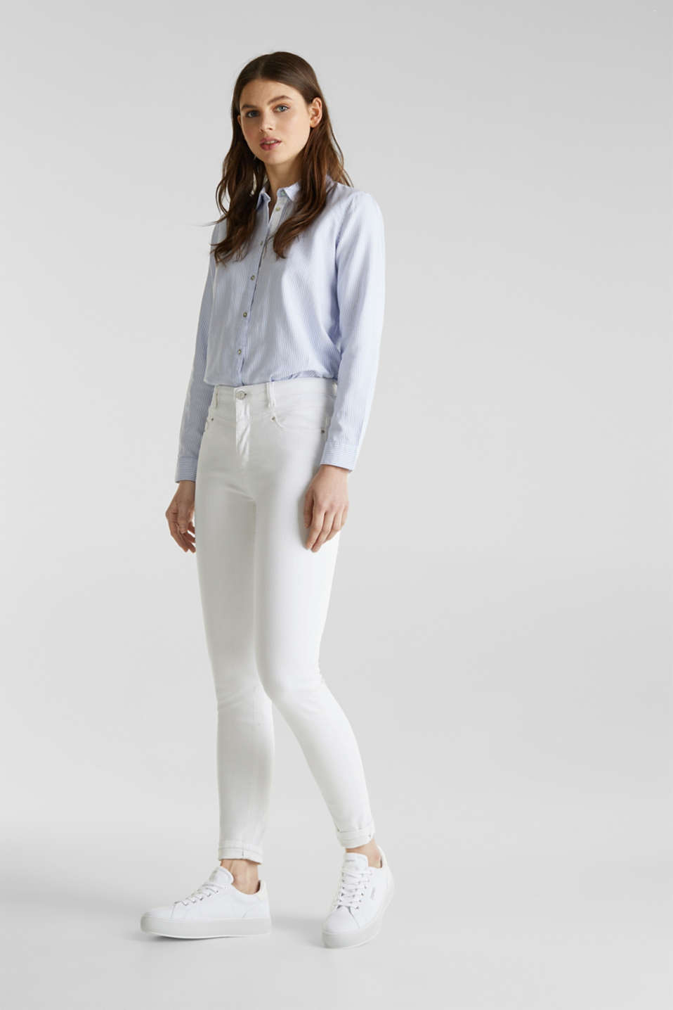 Shaping jeans with a high-waisted waistband, WHITE, detail image number 0
