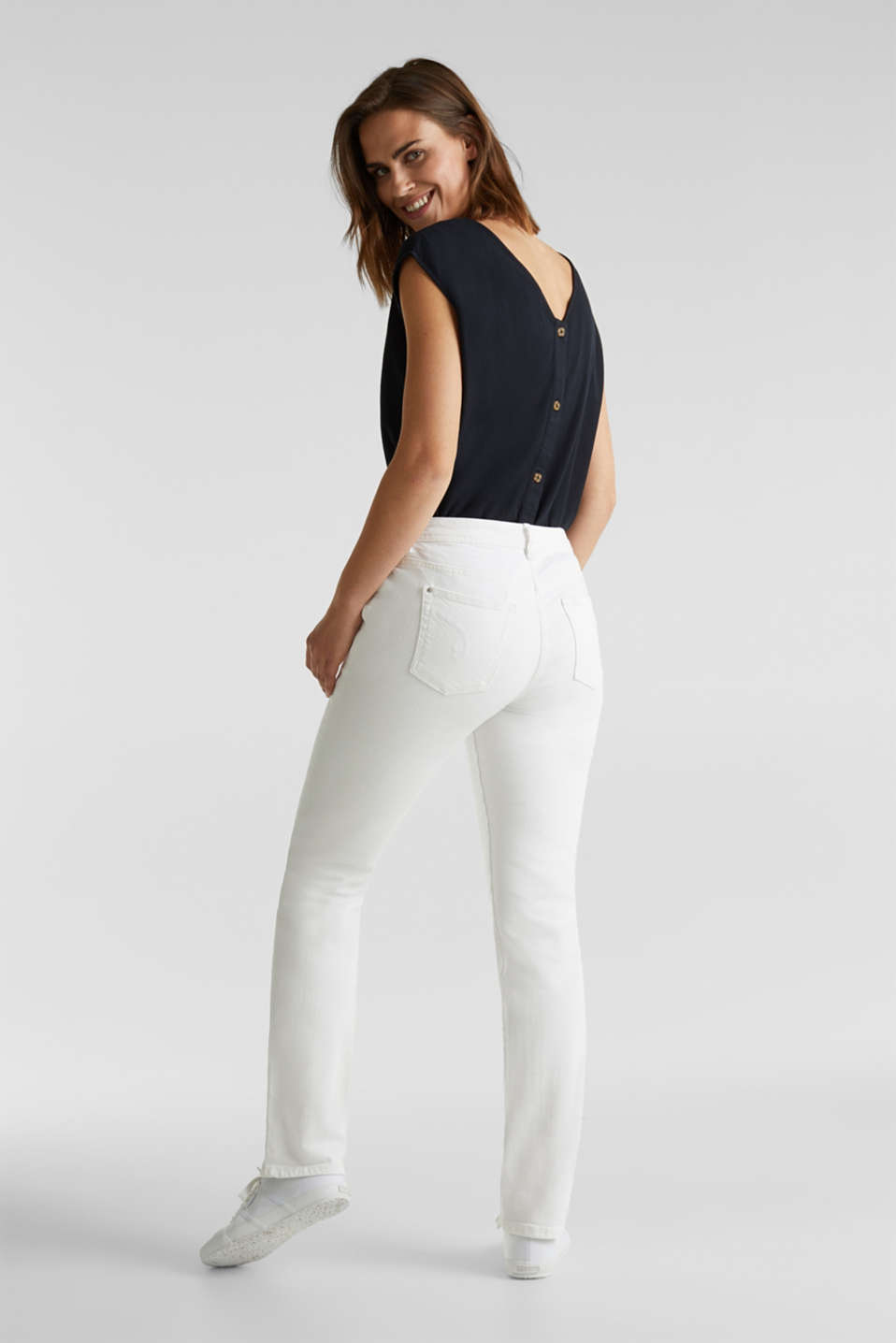 Basic jeans with organic cotton, WHITE, detail image number 3