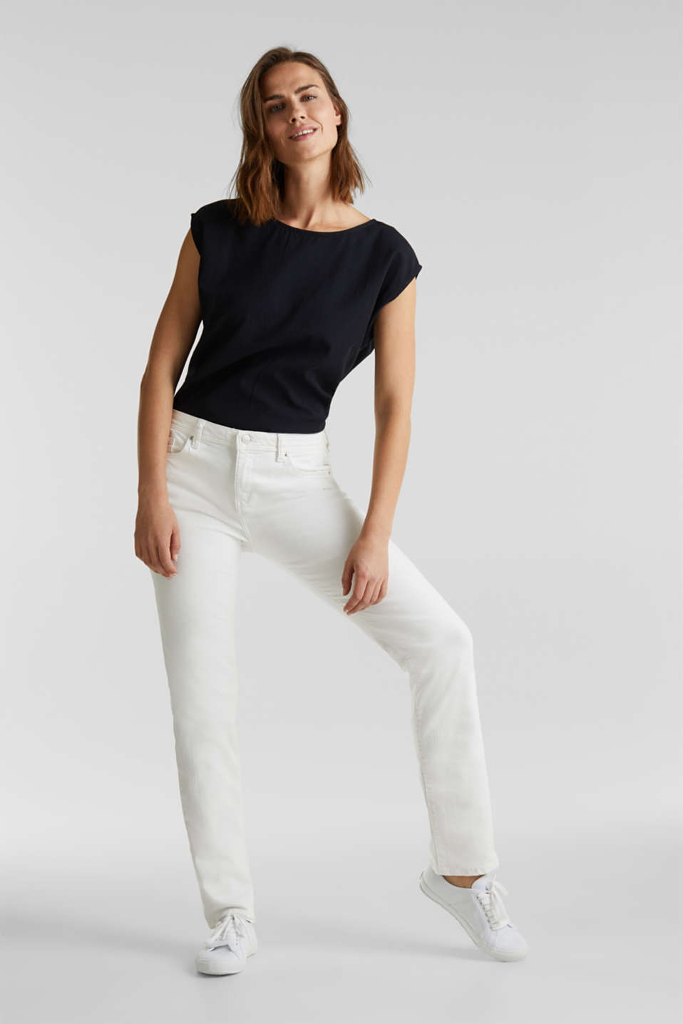 Basic jeans with organic cotton, WHITE, detail image number 1