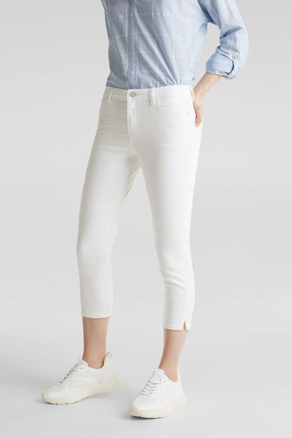 Capri jeans with whiskering, WHITE, detail image number 0