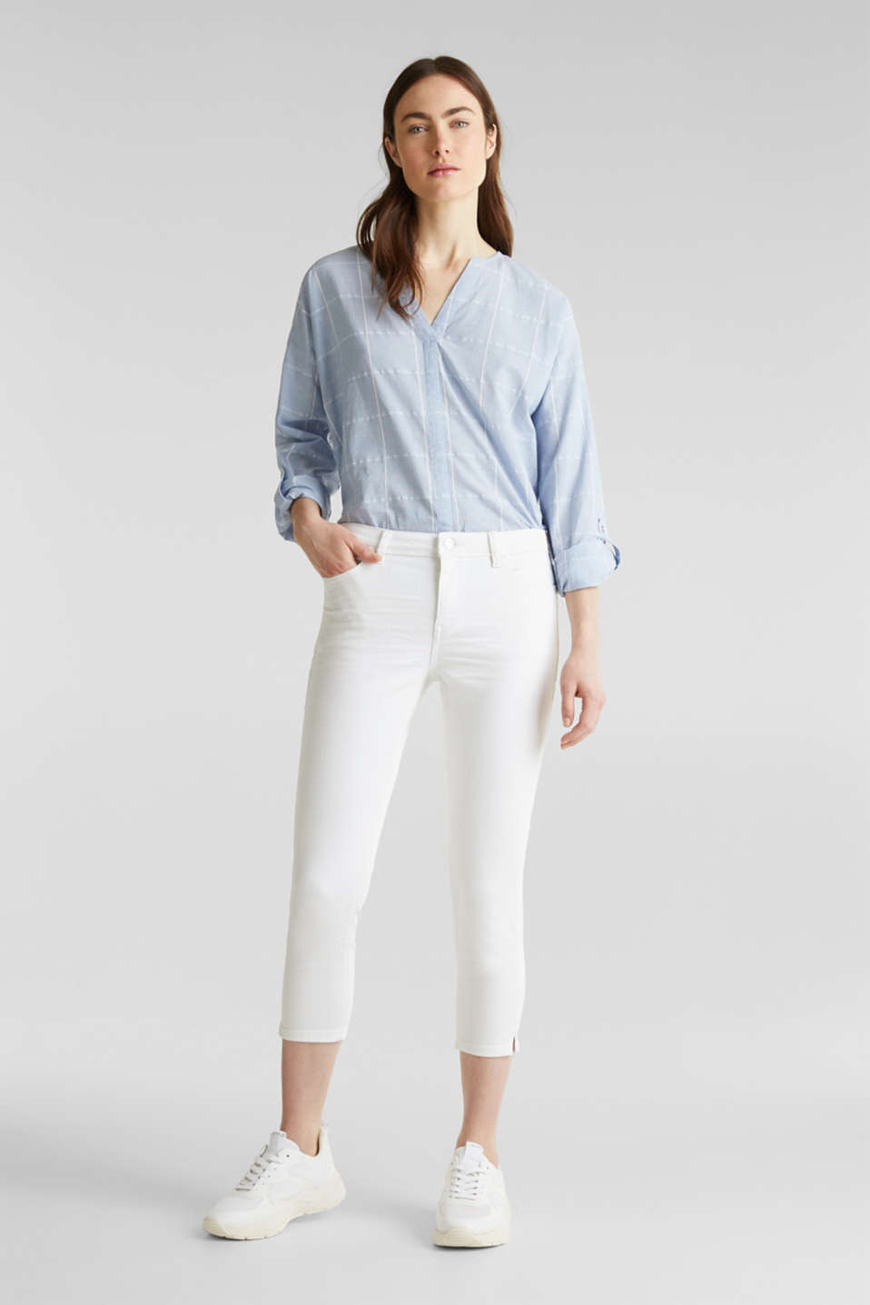 Capri jeans with whiskering, WHITE, detail image number 1