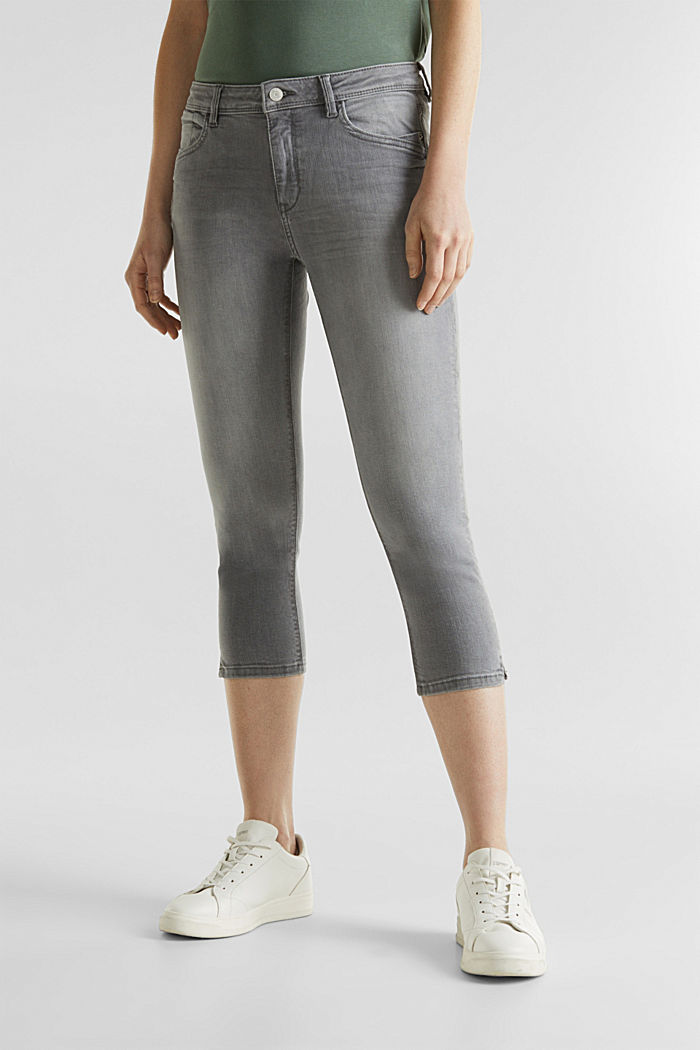 Capri-Jeans mit Wrinkle-Effekten, GREY LIGHT WASHED, detail image number 5
