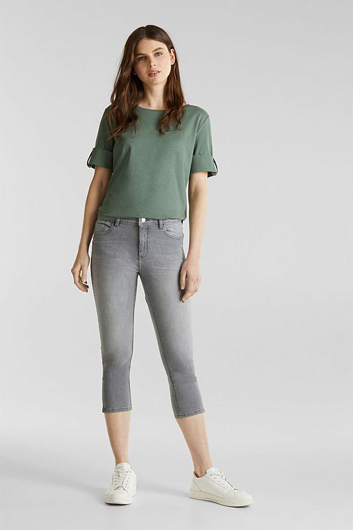 Capri-Jeans mit Wrinkle-Effekten, GREY LIGHT WASHED, detail image number 1