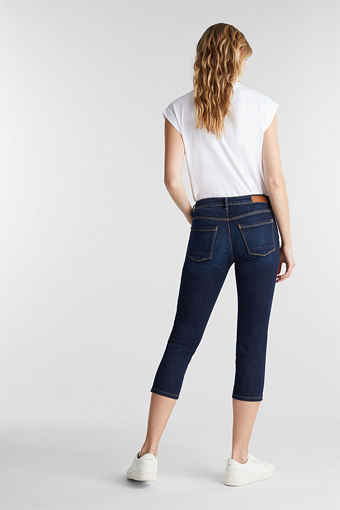 Capri jeans with whiskering, BLUE DARK WASHED, detail image number 2