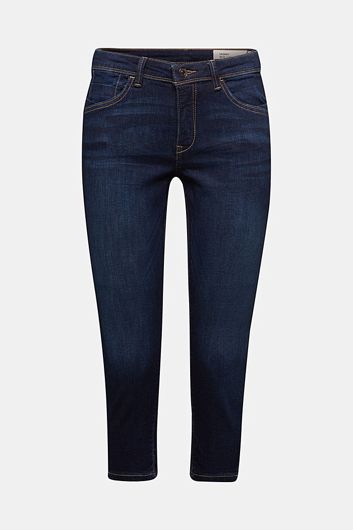 Capri jeans with whiskering, BLUE DARK WASHED, detail image number 5