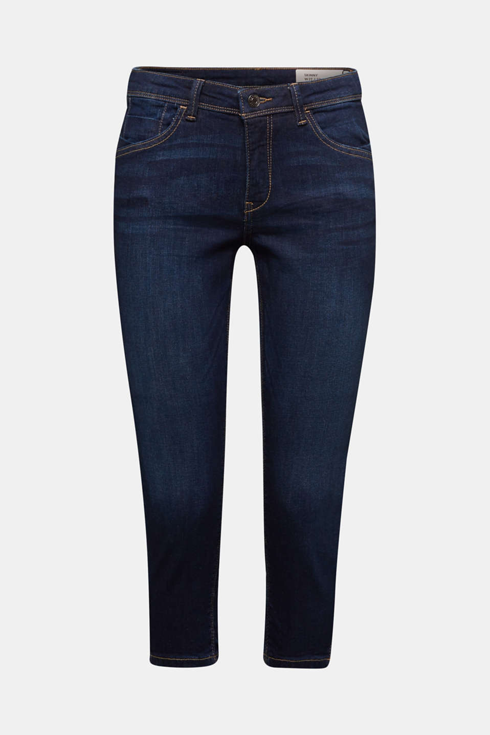 Capri jeans with whiskering, BLUE DARK WASH, detail image number 7