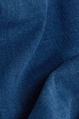 Capri jeans with whiskering, BLUE MEDIUM WASH, detail