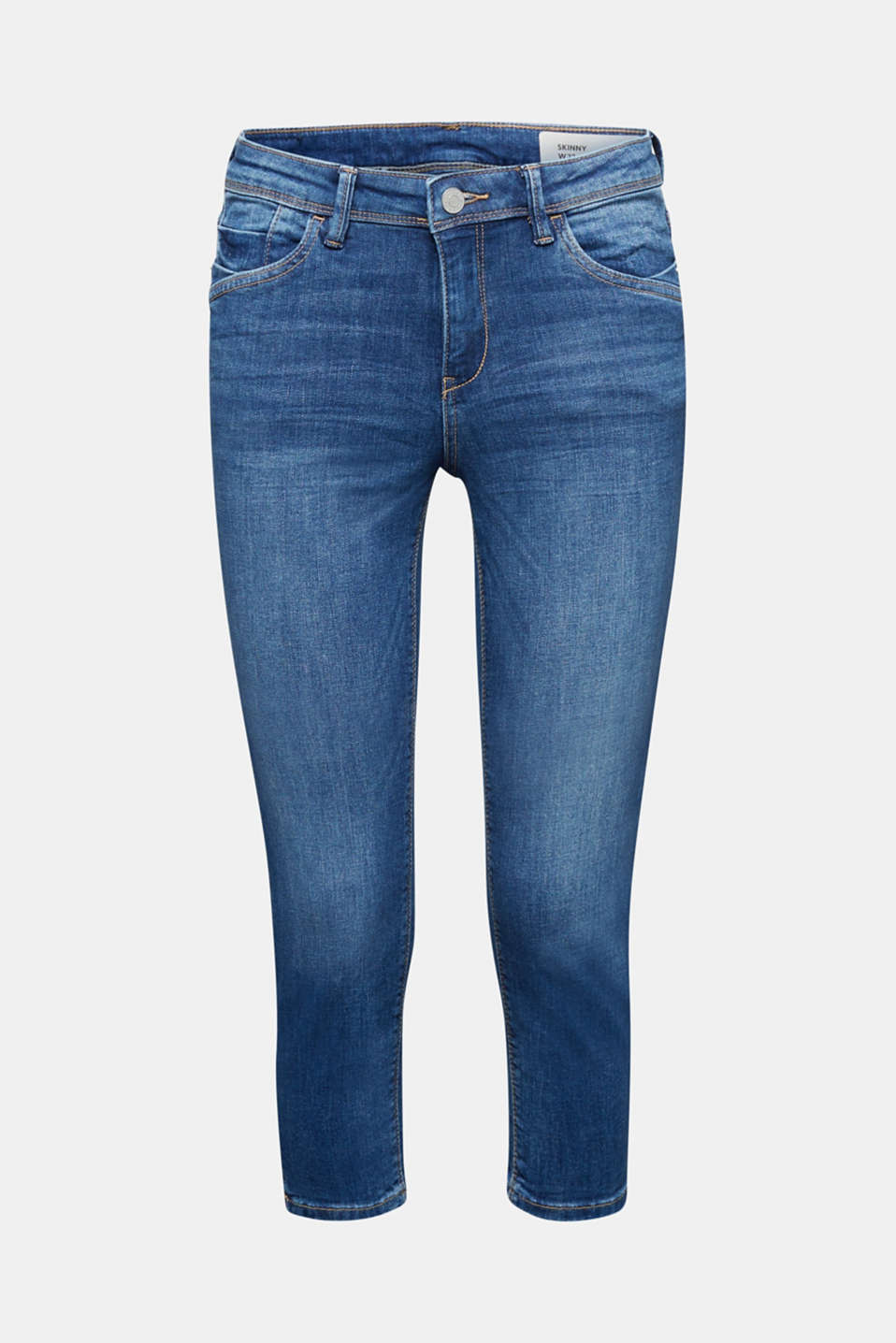 Capri jeans with whiskering, BLUE MEDIUM WASH, detail image number 7