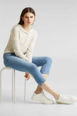 Capri jeans with whiskering, BLUE LIGHT WASH, detail