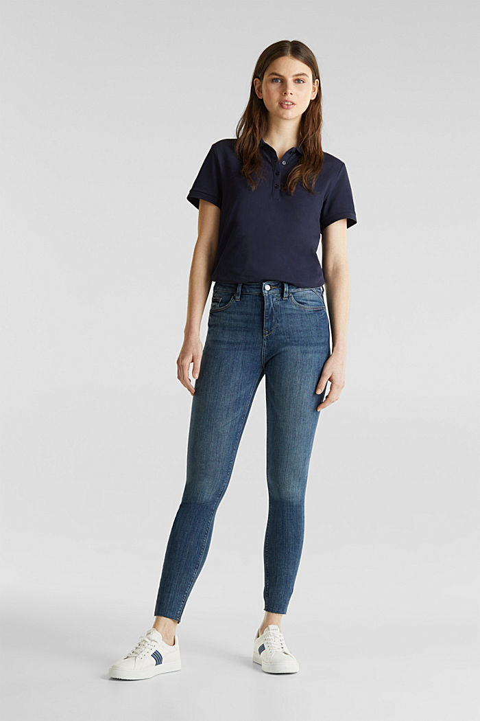 Ankle-length jeans with details, BLUE DARK WASHED, detail image number 0