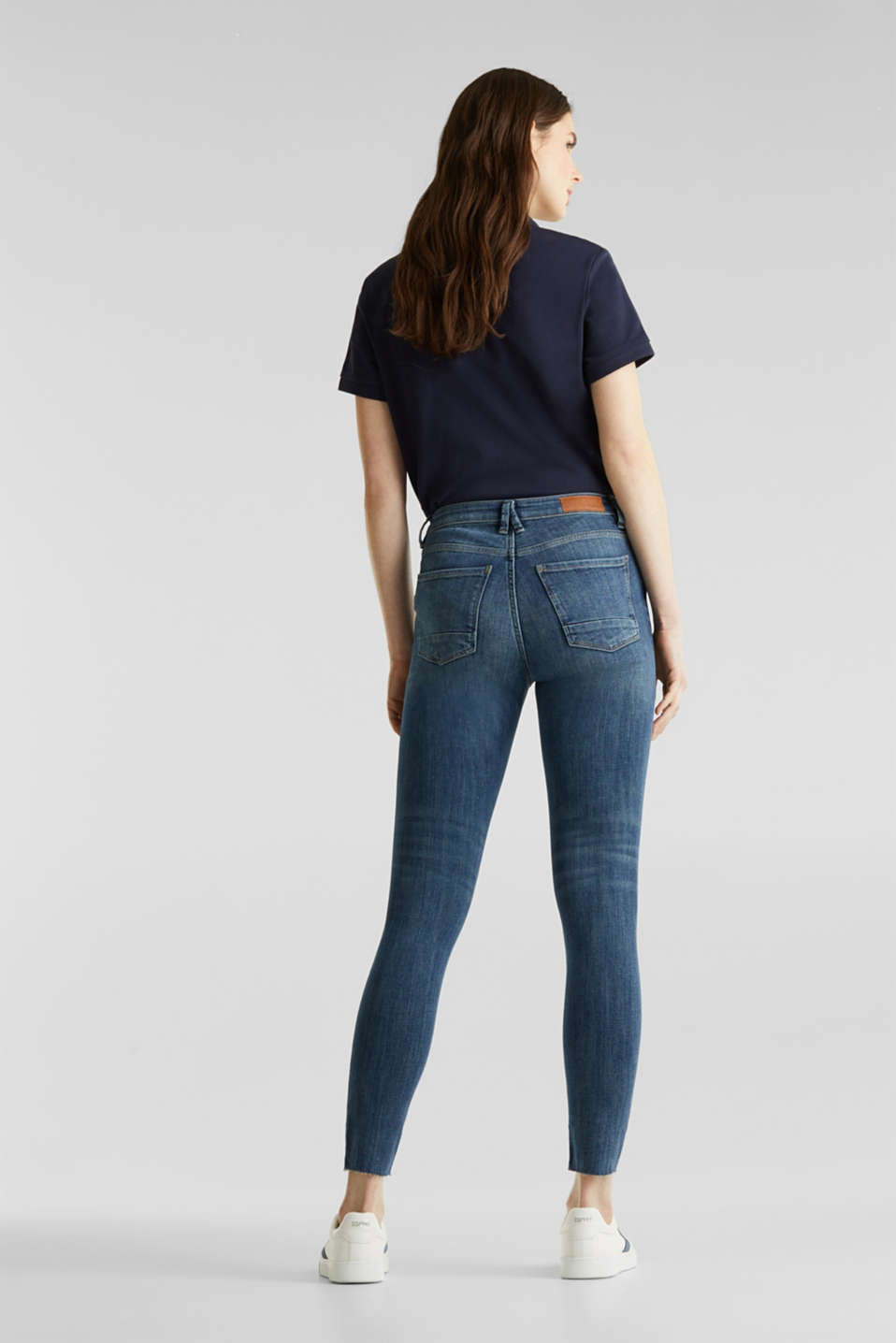 Ankle-length jeans with unneatened hems, BLUE DARK WASH, detail image number 3