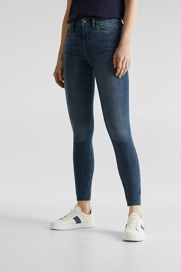Ankle-length jeans with details, BLUE DARK WASHED, detail image number 6