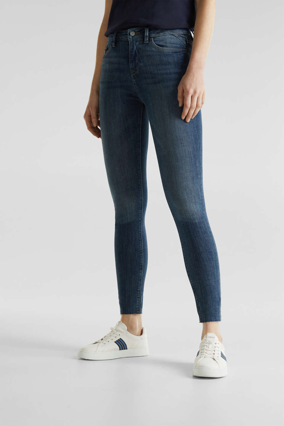 Ankle-length jeans with unneatened hems, BLUE DARK WASH, detail image number 6