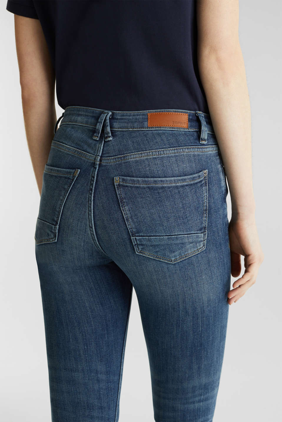 Ankle-length jeans with unneatened hems, BLUE DARK WASH, detail image number 5