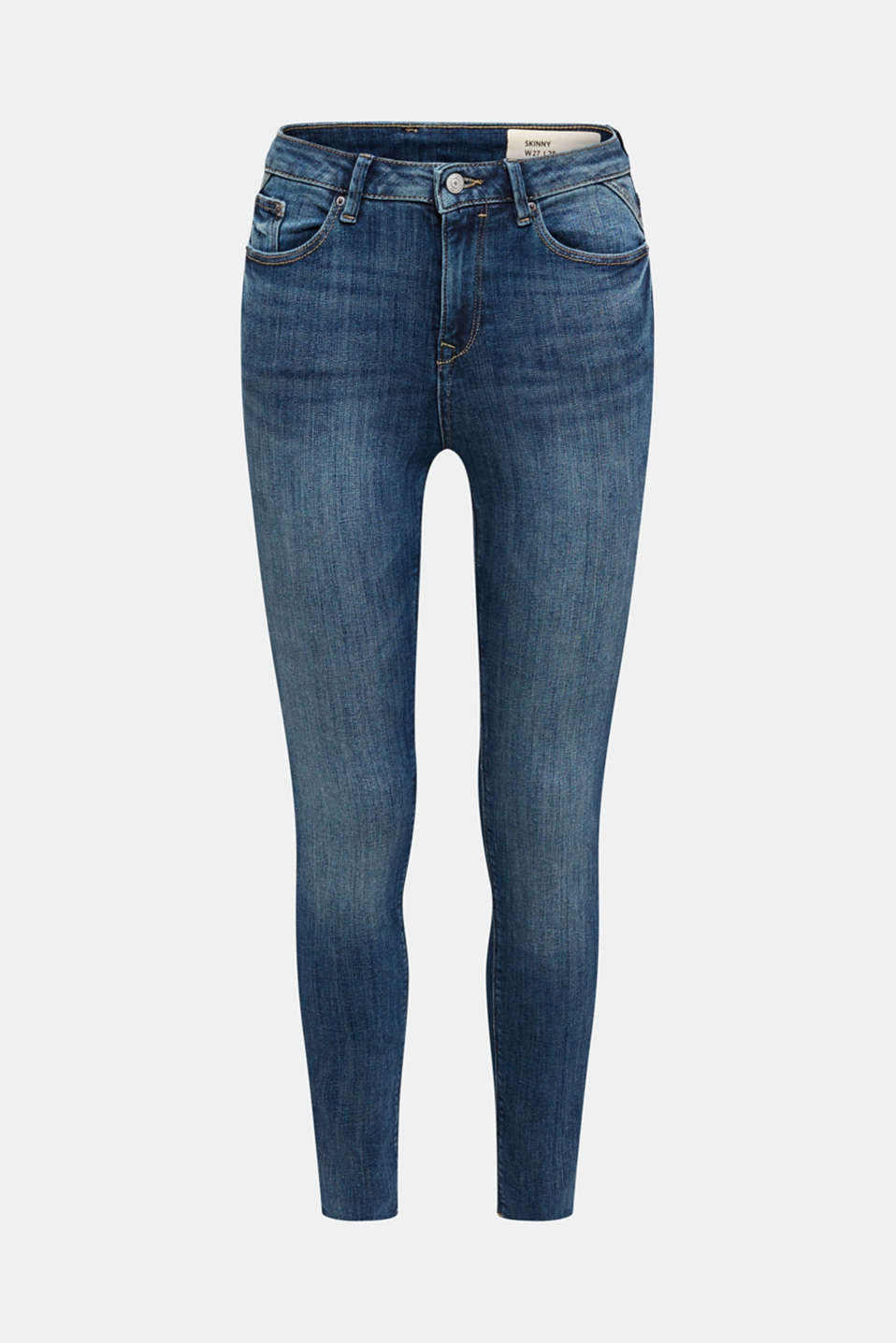 Ankle-length jeans with unneatened hems, BLUE DARK WASH, detail image number 7