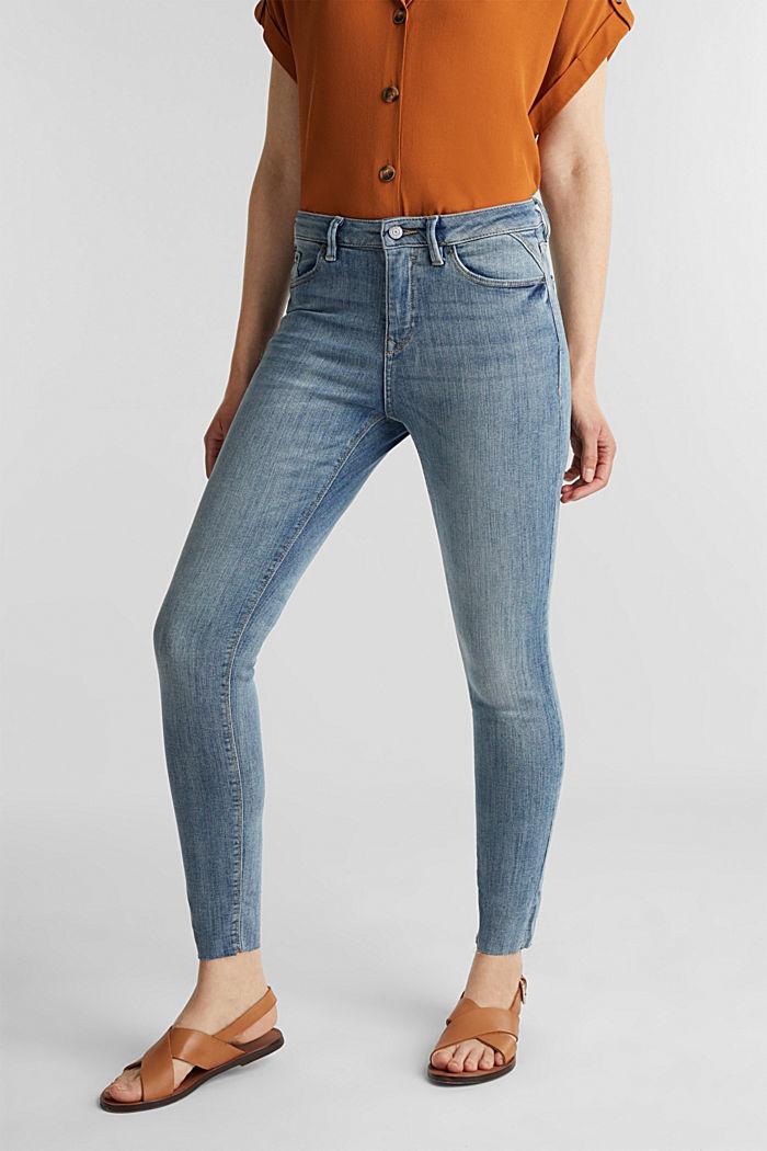 Ankle-length jeans with details, BLUE LIGHT WASHED, detail image number 0