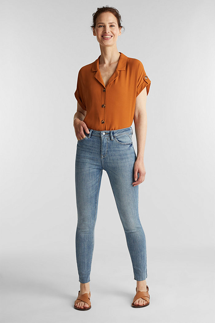 Ankle-length jeans with details, BLUE LIGHT WASHED, detail image number 1