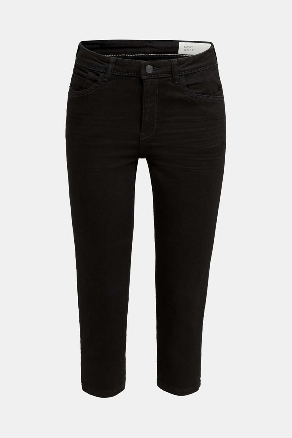 Capri jeans with whiskering, BLACK RINSE, detail image number 8