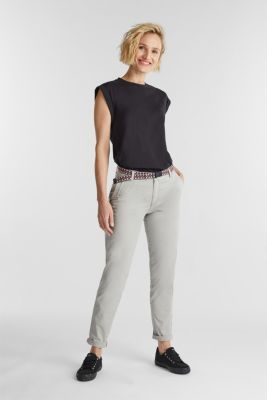 Chinos with a woven belt, LIGHT GREY, detail