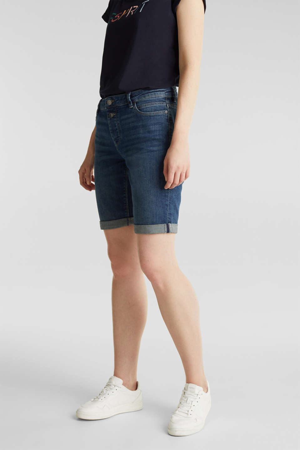 Super stretch shorts with two buttons, BLUE DARK WASH, detail image number 0