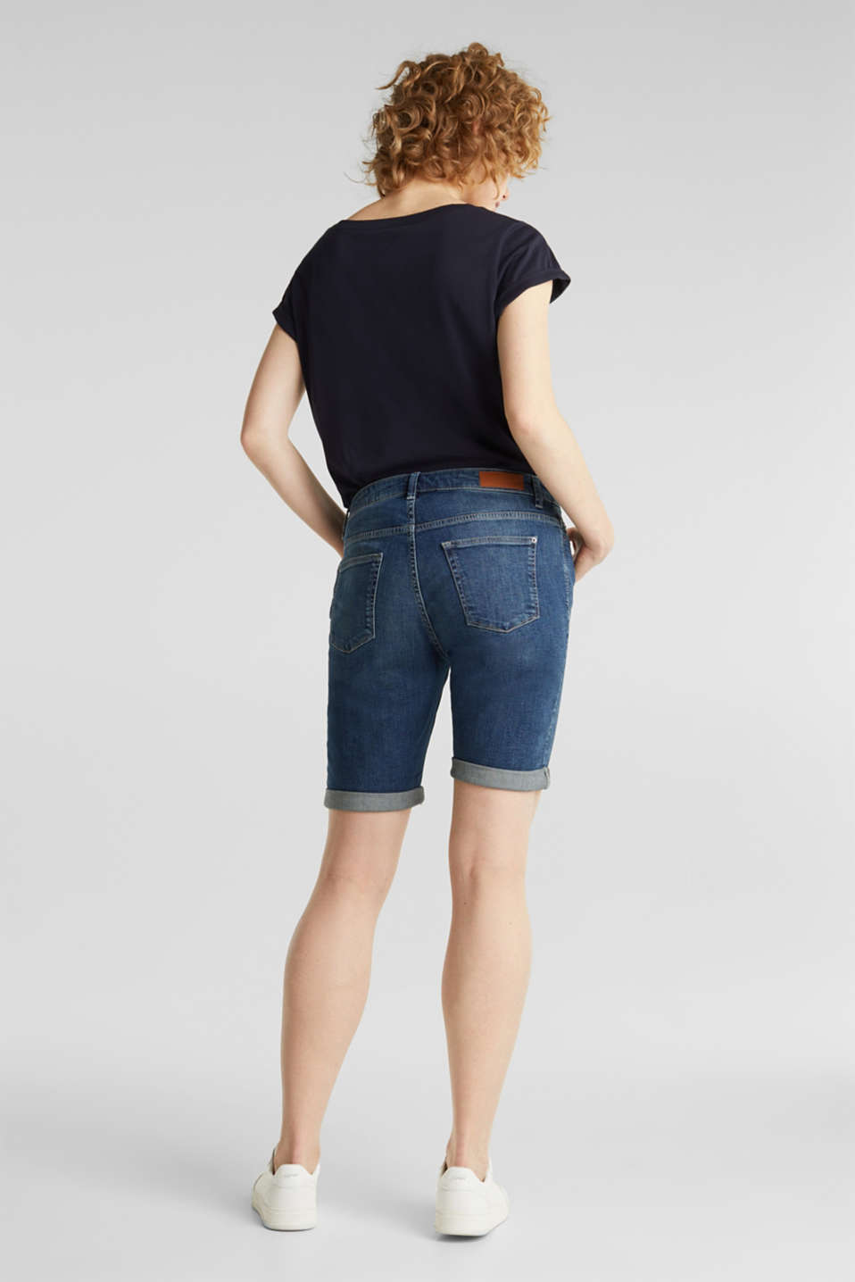 Super stretch shorts with two buttons, BLUE DARK WASH, detail image number 3