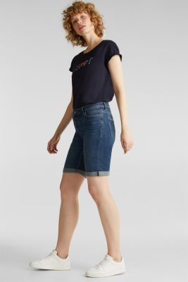 Super stretch shorts with two buttons, BLUE DARK WASH, detail
