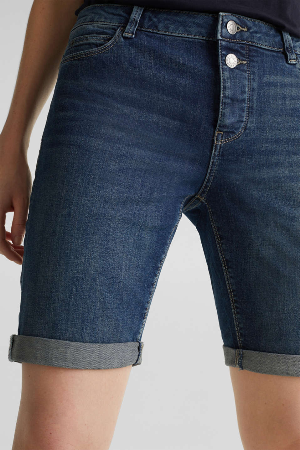 Super stretch shorts with two buttons, BLUE DARK WASH, detail image number 2