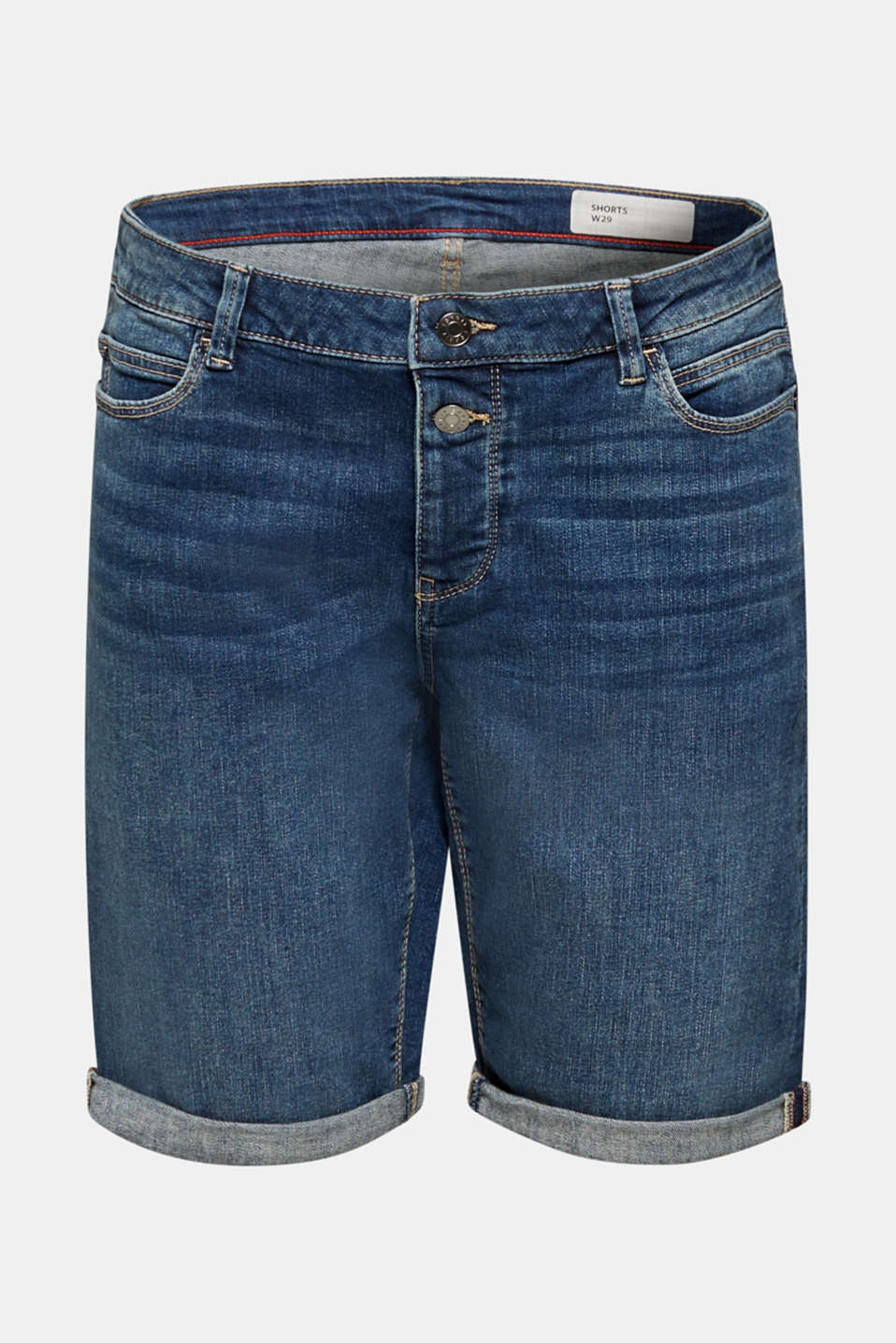 Super stretch shorts with two buttons, BLUE DARK WASH, detail image number 6