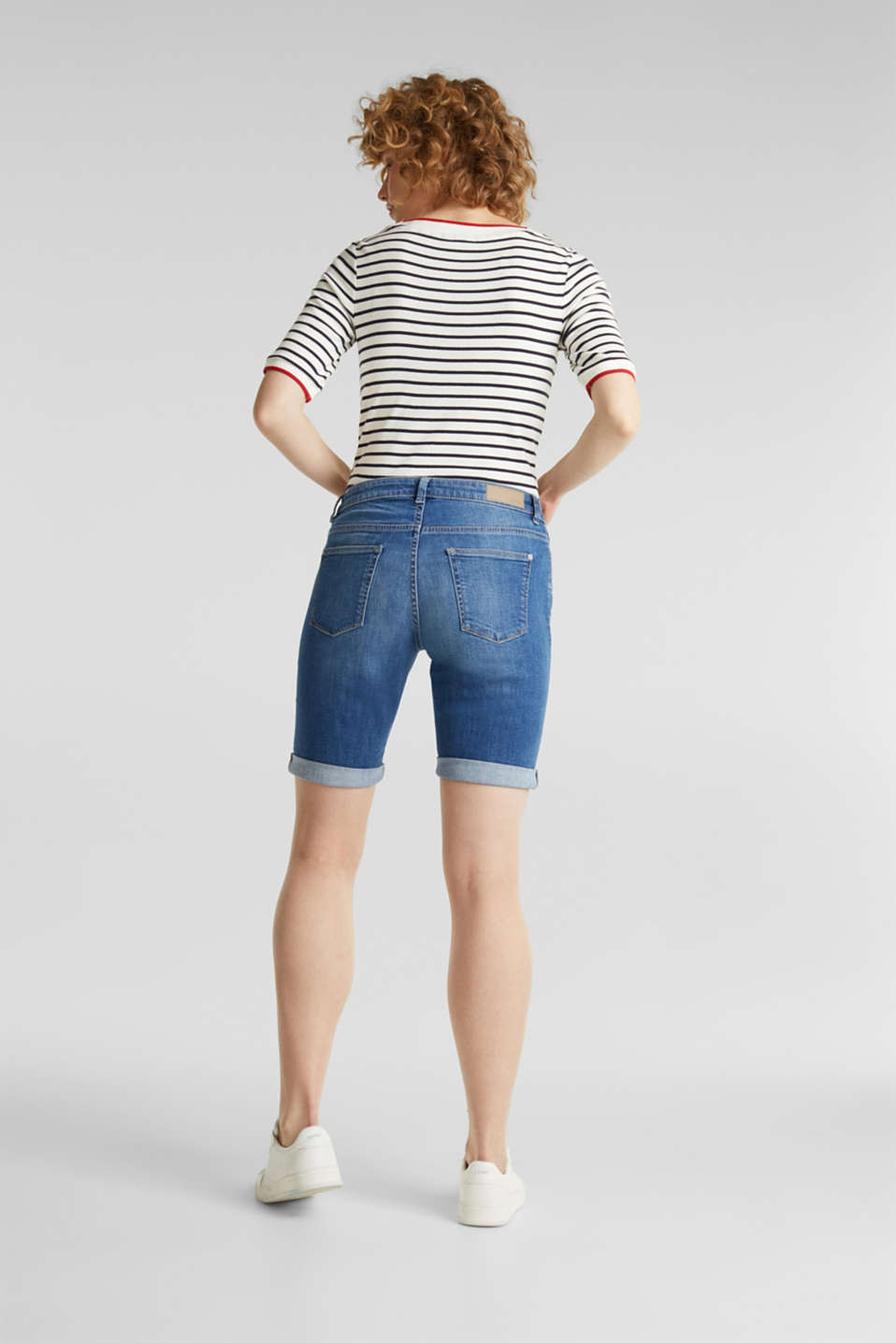 Super stretch shorts with two buttons, BLUE MEDIUM WASH, detail image number 3