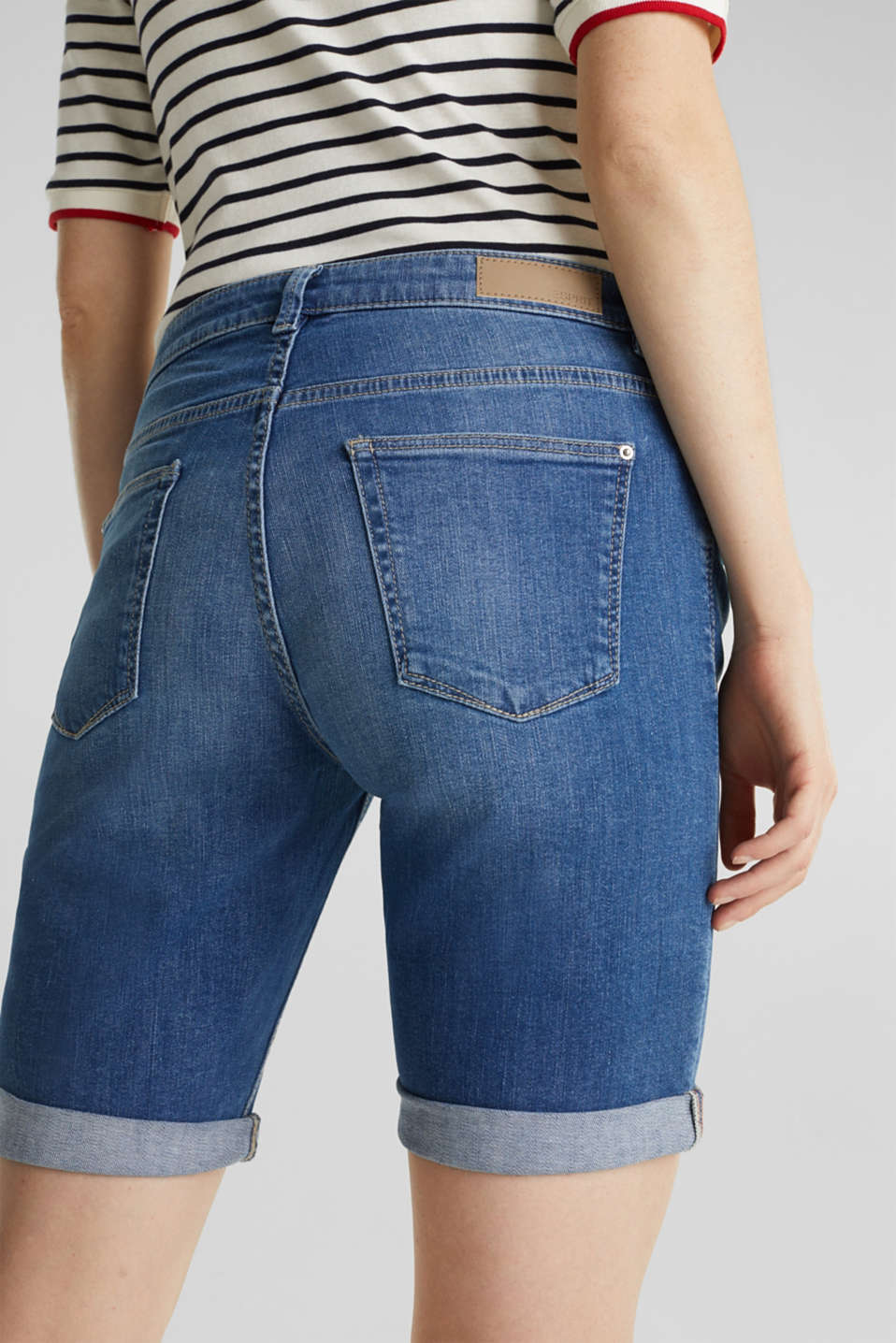 Super stretch shorts with two buttons, BLUE MEDIUM WASH, detail image number 5