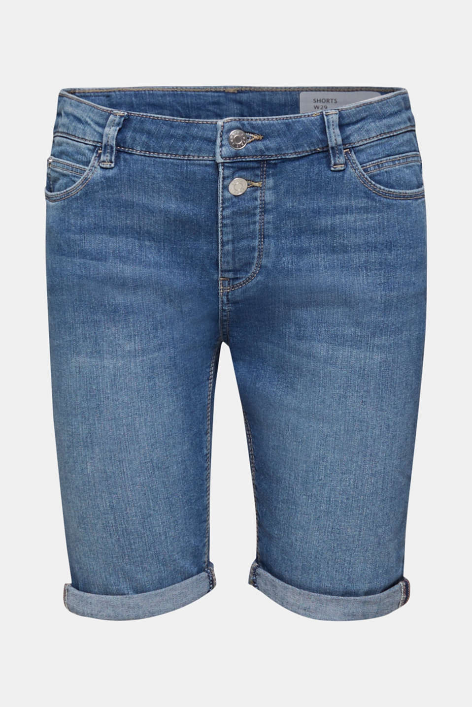 Super stretch shorts with two buttons, BLUE MEDIUM WASH, detail image number 6