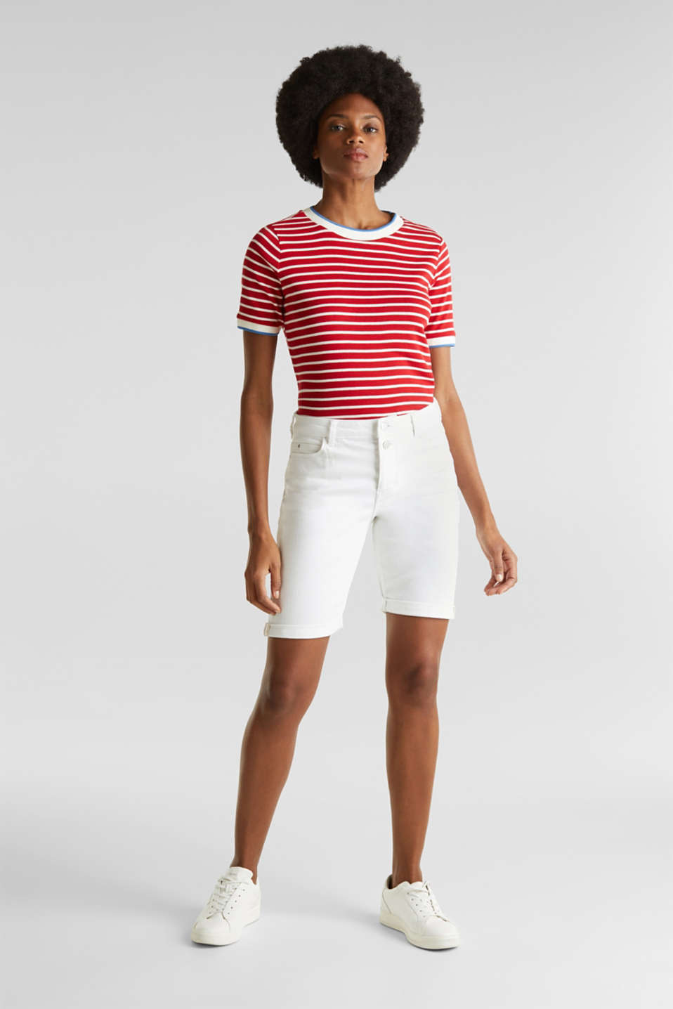Denim Bermuda shorts with a button placket, WHITE, detail image number 0