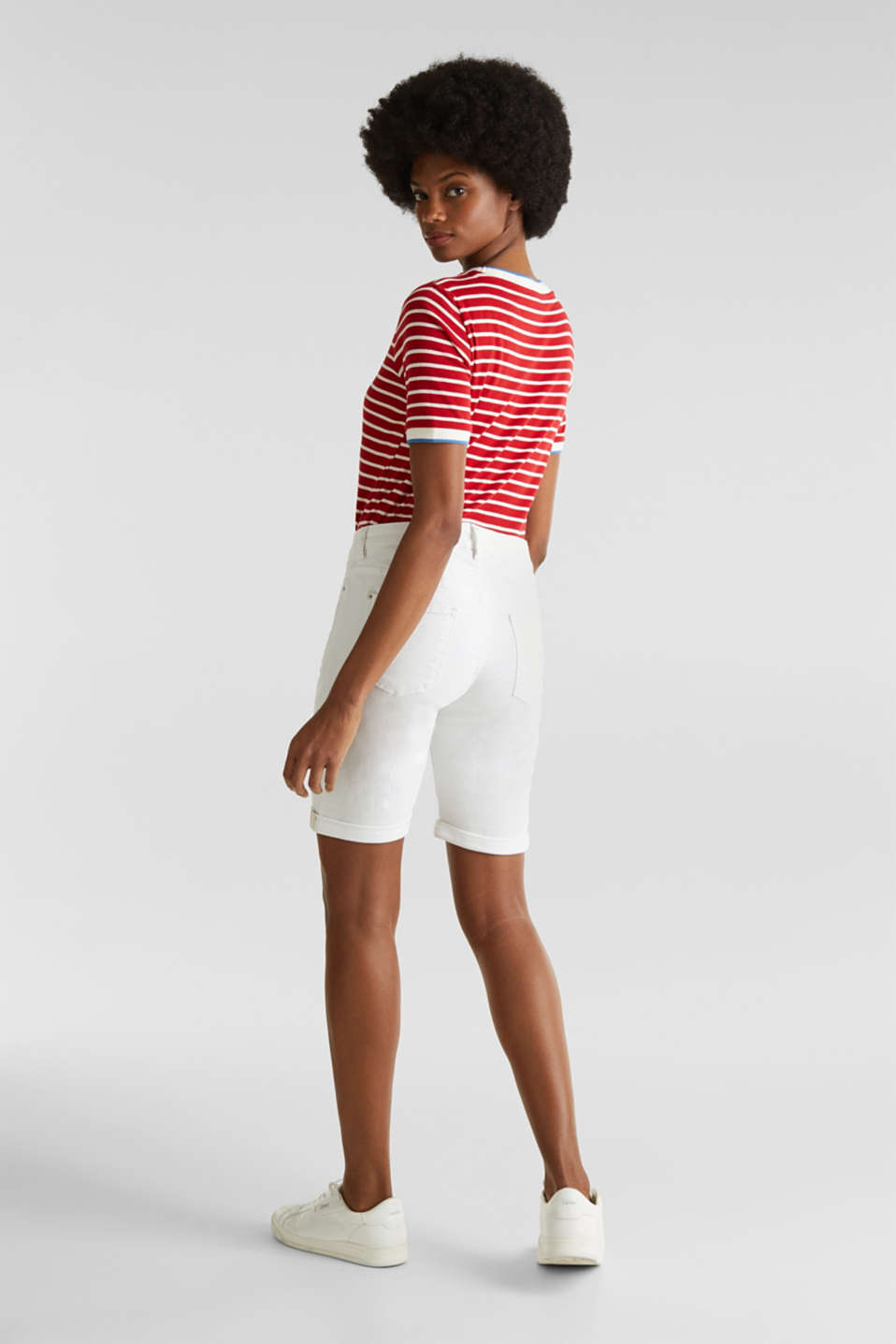 Denim Bermuda shorts with a button placket, WHITE, detail image number 3