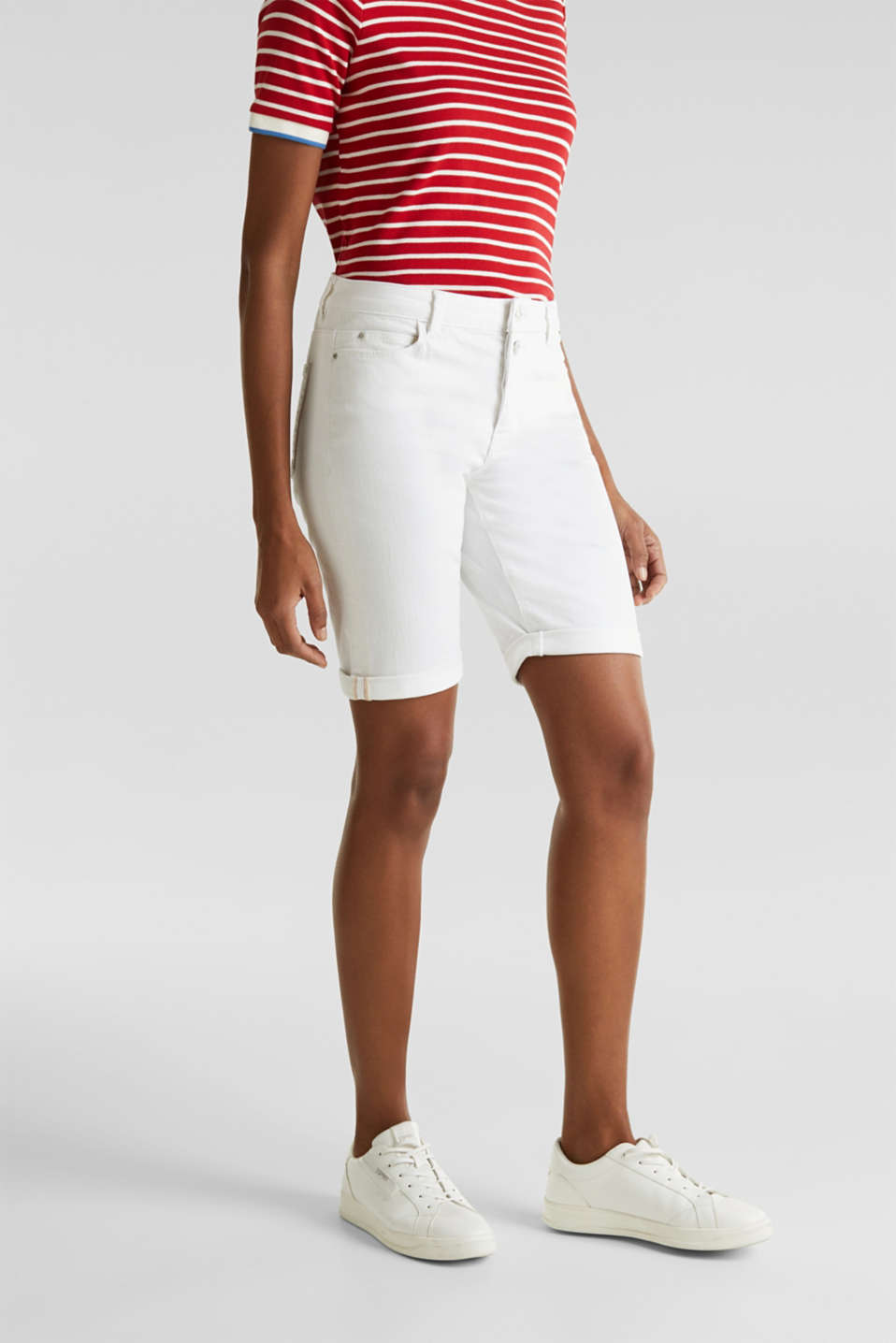 Denim Bermuda shorts with a button placket, WHITE, detail image number 6