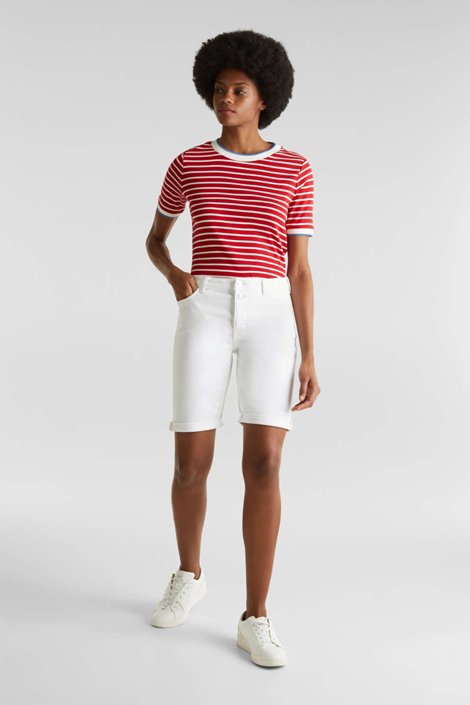 Denim Bermuda shorts with a button placket, WHITE, detail image number 1